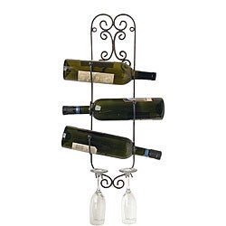 Wall-mount Wine Bottle and Glass Holder