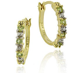 Glitzy Rocks 18k Gold/ Sterling Silver Peridot Hoop Earrings