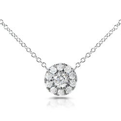 14k White Gold 1/3ct TDW Round Diamond Halo Necklace