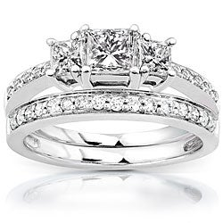 14k Gold 1 1/6ct TDW Princess Diamond Bridal Set (H-I, I1-I2)