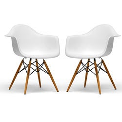 Retro-classic White Accent Chairs (Set of 2)