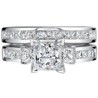 18k White Gold 2 7/8ct TDW Princess Cut 2-Piece Diamond Ring Set (H-I, SI2-SI3)