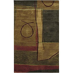 Hand-knotted Brown/Red Floral Contemporary Semi-worsted New Zealand Wool Abstract Rug (2'6 x 10')