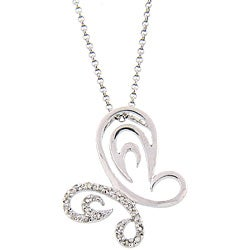 Sterling Silver 1/5ct TDW Diamond Butterfly Necklace