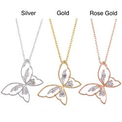 Sterling Silver Diamond Accent Butterfly Necklace