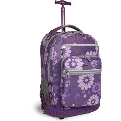 J World &#39;Sundance&#39; 19.5-inch Purple Flower Rolling Backpack with Laptop Sleeve