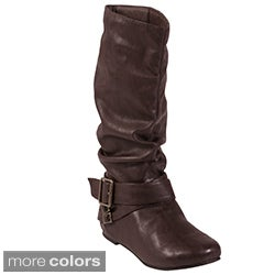 Glaze by Adi Women's Side Buckle Slouchy Flat Boots