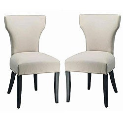 Matty Top-grain Off-White Leather Side Chairs (Set of 2)