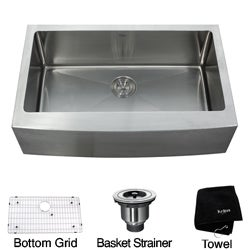 Kraus 33-inch Farmhouse Apron Single-bowl Stainless Steel Kitchen Sink