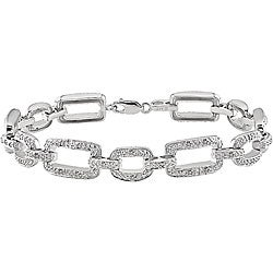 Haylee Jewels Sterling Silver 1/5ct TDW Diamond Link Bracelet (J-K, I3)