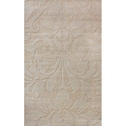 nuLOOM Handmade Neutrals and Textures Damask Beige Wool Rug (5' x 8')