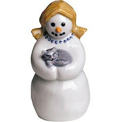 Royal Copenhagen Mother with Cat Snowman Figurine