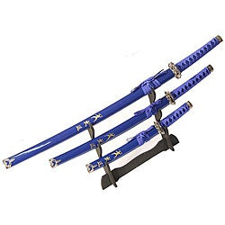 Ninja Symbol 3-piece Blue Samurai Sword Set