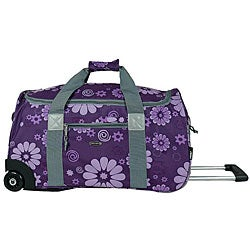 J World 'Tamarak' 22 Inch Purple Flowers Carry On Rolling Upright Duffel Bag