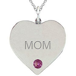 10k Gold June Birthstone Rhodolite Engraved 'MOM' Heart Necklace