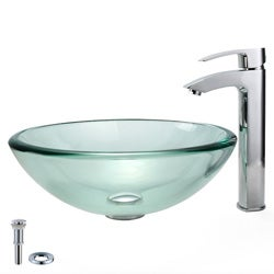 Kraus Glass Vessel Sink and Visio Bathroom Faucet