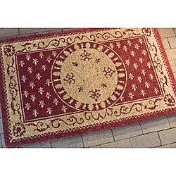Safavieh Natural Coir Beige/ Red Welcome Mat (2'6 x 4')