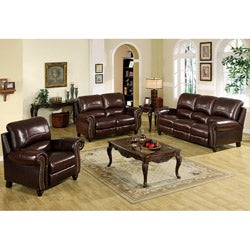 Abbyson Living Madison Premium Top-grain Leather Pushback Reclining Sofa Set