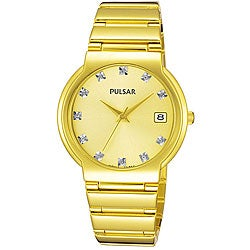 Pulsar Men's Crystal Goldplated Stainless Steel Watch