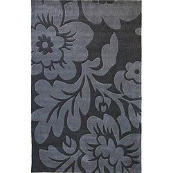 Hand-tufted Alexa Pino Collection Floral Grey Rug (7'6 x 9'6)