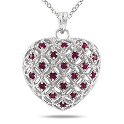 Sterling Silver Ruby Puff Heart Pendant