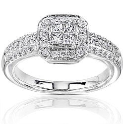 14k Gold 1/2ct TDW Diamond Princess Cut Halo Engagement Ring
