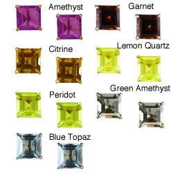 Gioelli 10k Yellow Gold Square Gemstone Stud Earrings