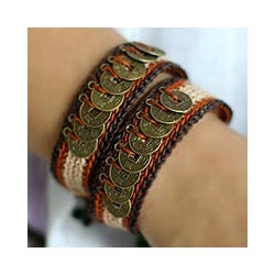 &#39;Coins of The Earth&#39; Beaded Wristband Bracelets (Set of 2) (Thailand)