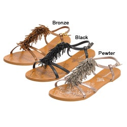 Bamboo by Journee Women's 'Darling' Beaded Vamp Sandals