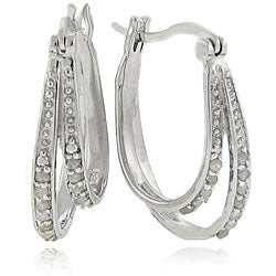 Finesque Sterling Silver 1/4 Carat TW Diamond Double Hoop Earrings,