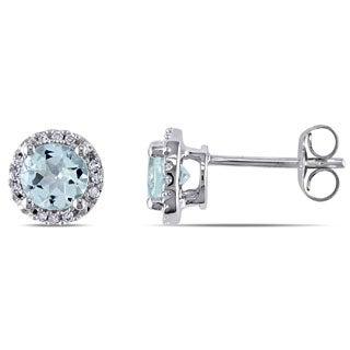 Miadora 10k White Gold Aquamarine and Diamond Halo Earrings (H-I, I2-I3)