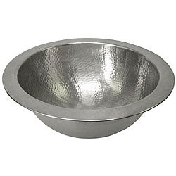 Large Round Copper Flat Lip Pewter Finish Bathroom Sink