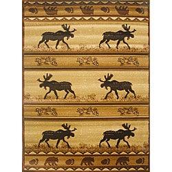 The Lodge Moose Southwestern Rug (4' x 6')