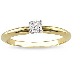 Miadora 18k Gold 1/4ct TDW Diamond Solitaire Engagement Ring (G-H, SI2)