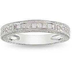 Miadora 10k White Gold 1/5ct TDW Diamond Anniversary Ring (H-I, I2-I3)