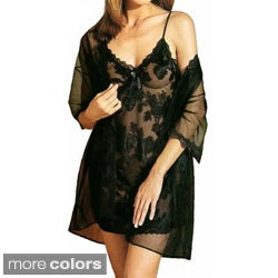 Illusions Women's Floral Clipped-chiffon Chemise Set