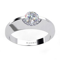 Danhov 14k Gold Cubic Zirconia and 1/10ct TDW Diamond Engagement Ring