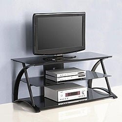 Black 48-inch Glass and Metal TV Stand
