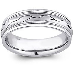 14k White Gold Women's Hand-braided Comfort Fit Wedding Band (5.2 mm)