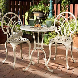 Christopher Knight Home Anacapa Aluminum Off-white Bistro Set