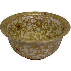 Porcelain Gold and White Bowl