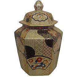 Imari Hexagon Porcelain Lidded Jar