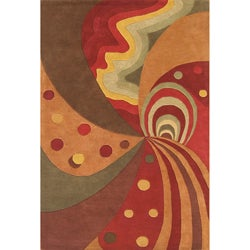 Alliyah Handmade Brown New Zealand Blend Wool Rugg (8' x 10')