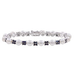 Sterling Silver White Freshwater Pearl and Sapphire Link Bracelet (6 mm)