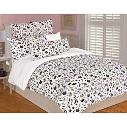 Microplush Full/ Queen-size Love Shopping 3-piece Comforter Set