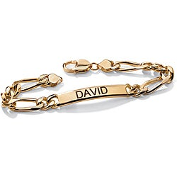 Neno Buscotti 18k Yellow Gold over Sterling Silver Men's 8.5-inch ID Bracelet