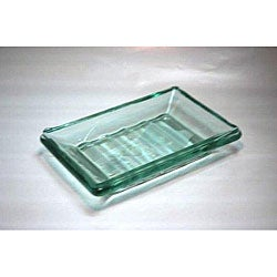 Recycled Clear Green Glass Soap Dishes (Pack of 2)