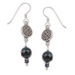 Argentium Silver FW Pearl and Sapphire Earrings (8 mm)