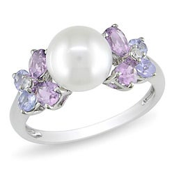 10k Gold FW Pearl, Amethyst, Tanzanite and Diamond Ring (7.5-8 mm)