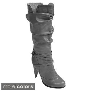 Journee Collection Women&#39;s &#39;Martha-2&#39; Strappy High Heel Slouchy Boot